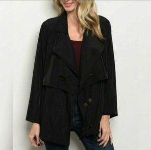 Orange Creek Drape Front Jacket - Black